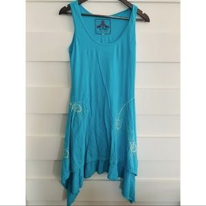 Johnny Was - Blue Asymmetrical Embroidered Dress